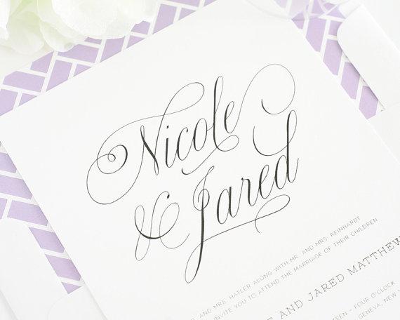 زفاف - Wedding Invitation - Wedding Invitations - Garden Wedding, Woodland, Chic, Calligraphy - Garden Script Design  - Deposit to Get Started