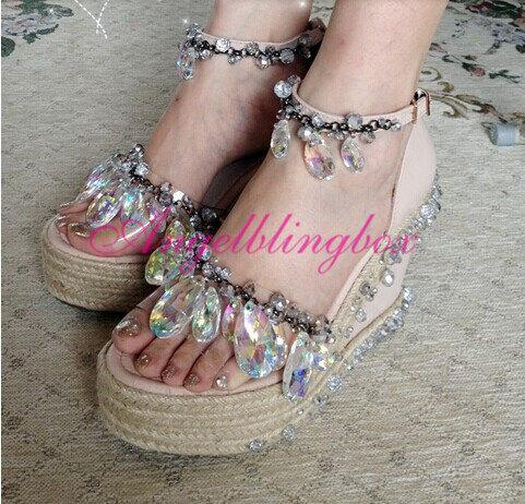 Свадьба - Bling crystal prom wedges, Custom crystal wedge sandals, Bling wedding shoes and black crystal sandals in handmade