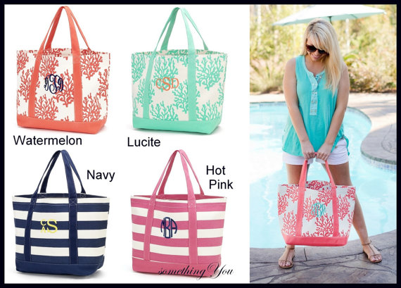 Monogrammed Canvas Tote Bag Personalized Beach Pool Bridesmaid Totes C Navy Aqua Mint Mother S Day Gift