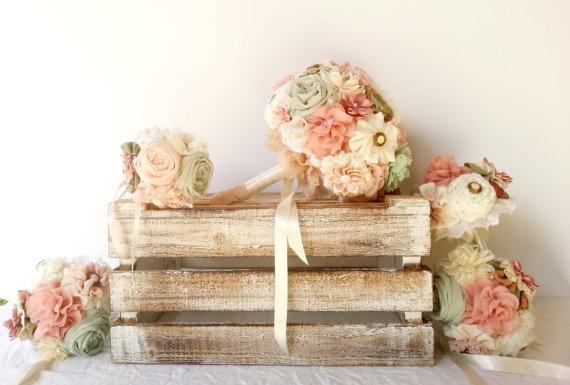 زفاف - wedding fabric bouquet set- Bridal bouquet, bridesmaid bouquets ,flower girl bouquet, rustic bouquet, mint peach bouquet