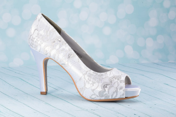 """Mariage - 3 1/4""""  Lace High Heel Shoe - Wedding Shoes - Choose From Over 200 Color Choices - Custom Wedding Shoe -Lace Shoe - Lace Wedding Shoe - Lace"""