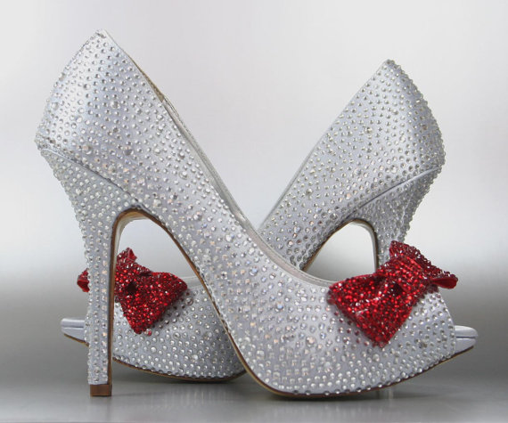 Mariage - Wedding Shoes -- Silver Rhinestone Covered Platform Peep Toe Wedding Shoes with Red Rhinestone Covered Bow on Toe