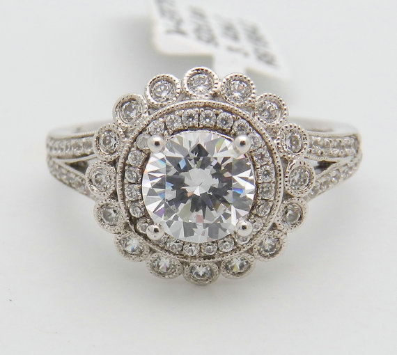 Wedding - Diamond Halo Engagement Ring Flower Design Setting Mounting set in 14K White Gold