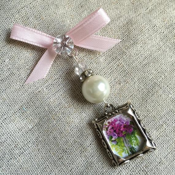 Mariage - Wedding Bouquet Photo Charm - Pearl and Rhinestones