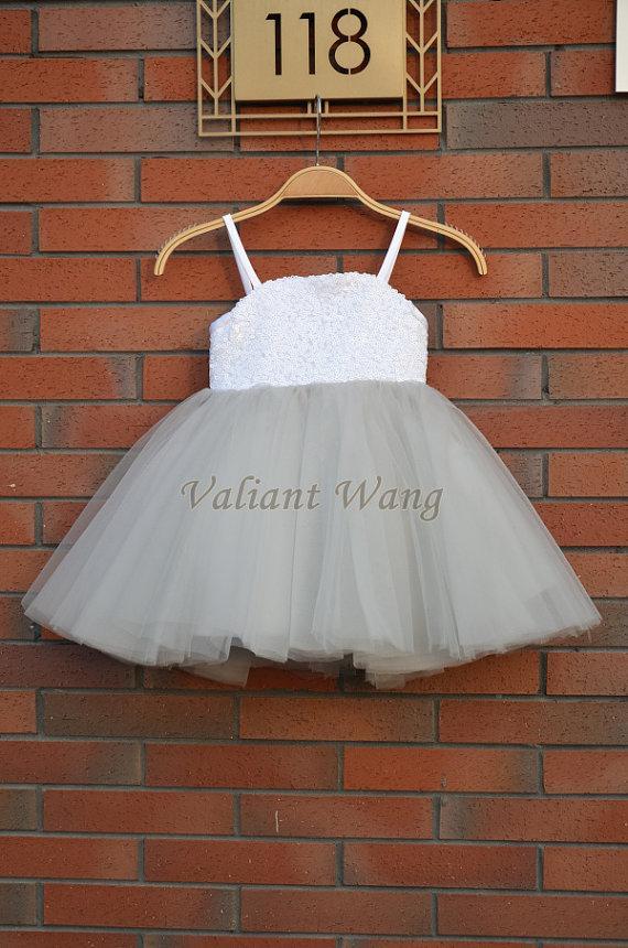 Wedding - Lovely White Sequin Silver Tulle Flower Girl Dress Wedding Baby Girls Dress Rustic Baby Birthday Dress Knee Length