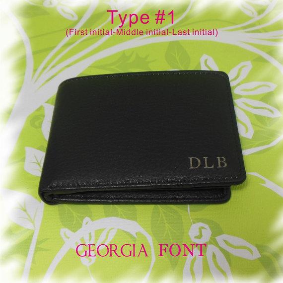 Mariage - Personalized Bi-Fold Men's Genuine Leather Wallet, Man Engraved Wallet, Groomsmen Gift, Monogram Wallet, Gift for Men, Custom Man Wallet