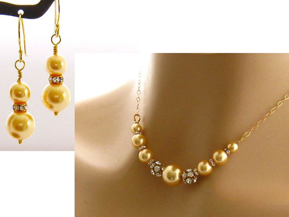 Yellow Jewelry Set Pearl Rhinestone Bridal Necklace Earrings Pearl