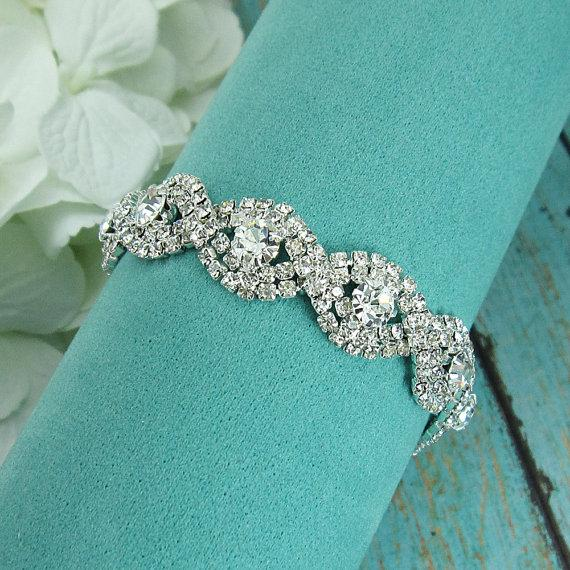 Mariage - Rhinestone Bridal bracelet, wedding bracelet, rhinestone crystal bracelet, crystal bracelet, bridal jewelry, wedding accessories