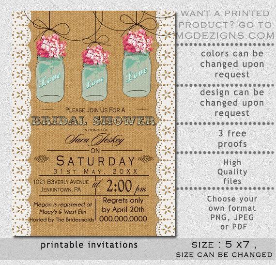 Printable Burlap And Lace Elegant Pink Hydrangea Blue Mason Jar Rustic Bridal Shower Invitation Templates