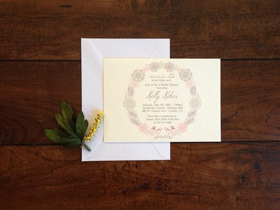 زفاف - Love Birds Floral Bridal Shower Vintage Retro Yellow Teal Grey Bridal Shower Invitation