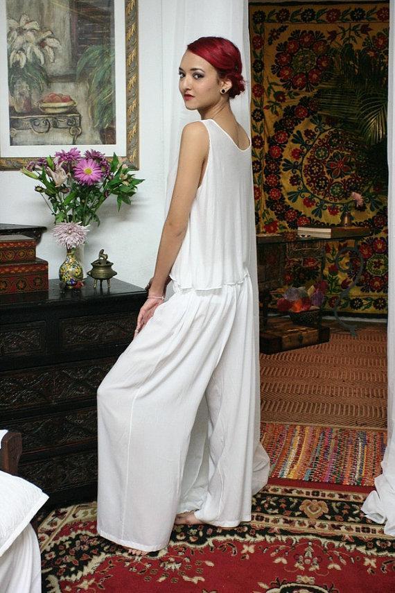 Wedding - White Silk Pajamas Lounge Sleepwear Bridal Honeymoon Lingerie Wide Leg Cruise Wear