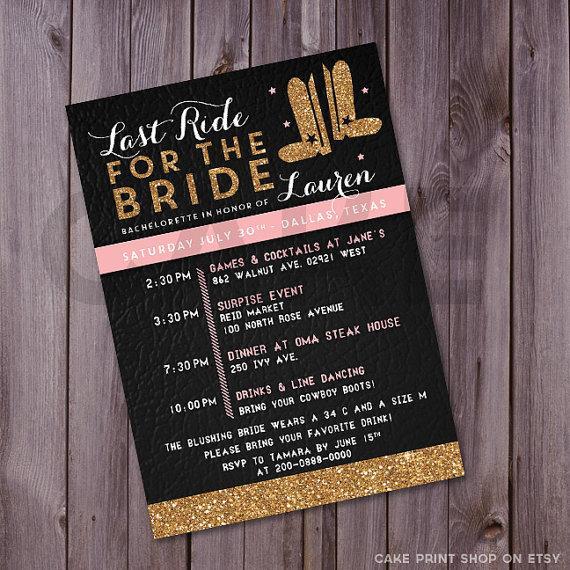 Wedding - Bachelorette invitation, Last ride for the bride, cowgirl invite, boots, Western country, glitter, Printable bachelorette invite