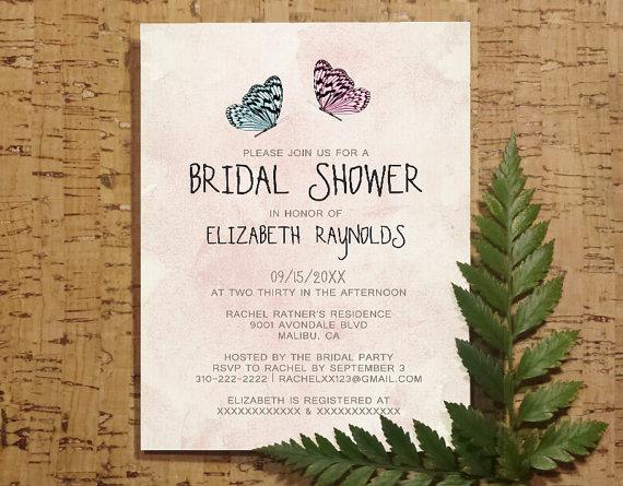Cute Butterfly Bridal Invitations Bridal Shower Invitations