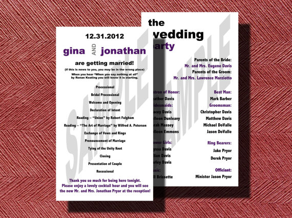 Modern Double Sided Wedding Program