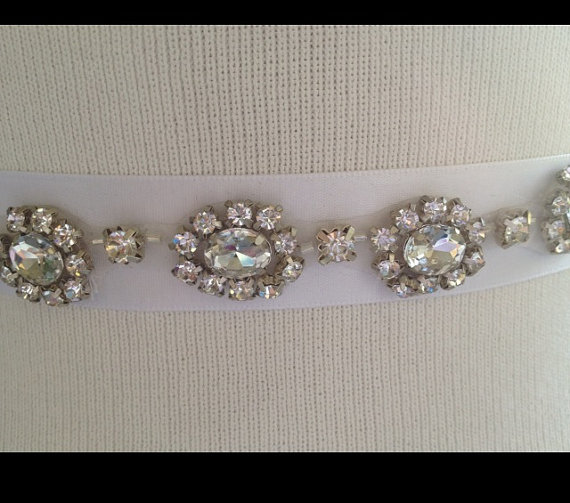 Mariage - Silver Wedding Crystal  Belt Sash,Bridal Sash,Swarovski beaded sash,Silver Sash