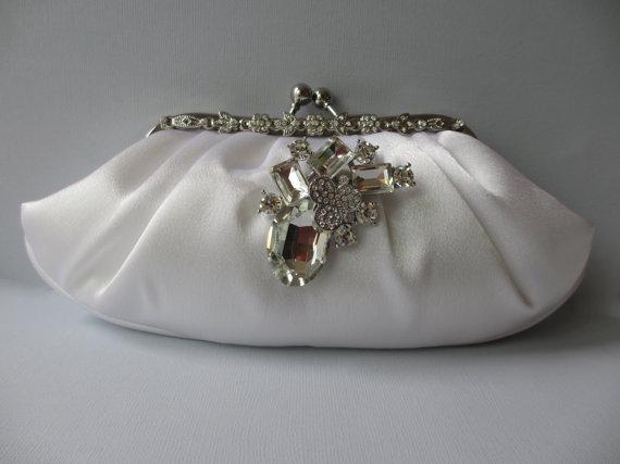Wedding - WHITE Satin Clutch ~ Wedding Day, Swarovski Embellished, Bridal or Wedding Purse, Prom, Engagement Party, Quinceanera, Sweet 16, Bat Mitzvah