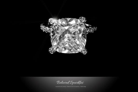 Bridal Solitaire 7 Carat Cushion Cut Cz Engagement Ring Cubic