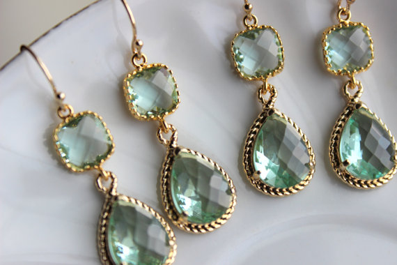 Mariage - 15% Off Set of 9 Prasiolite Green Bridesmaid Earrings Bridal Bridesmaid Wedding Jewelry Two Tier Prasiolite Green Earrings Gold Teardrop