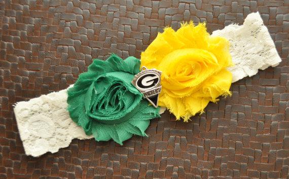 Green bay packers wedding garter green bay packers bridal for Green bay packers wedding dress
