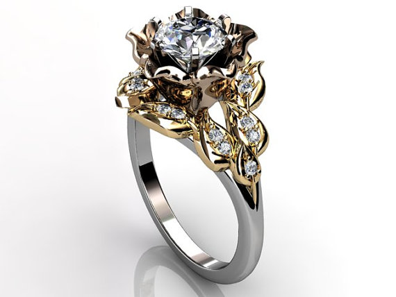Wedding - 14k three tone white, rose and yellow gold diamond unusual flower engagement ring, bridal ring, wedding ring ER-1058-8