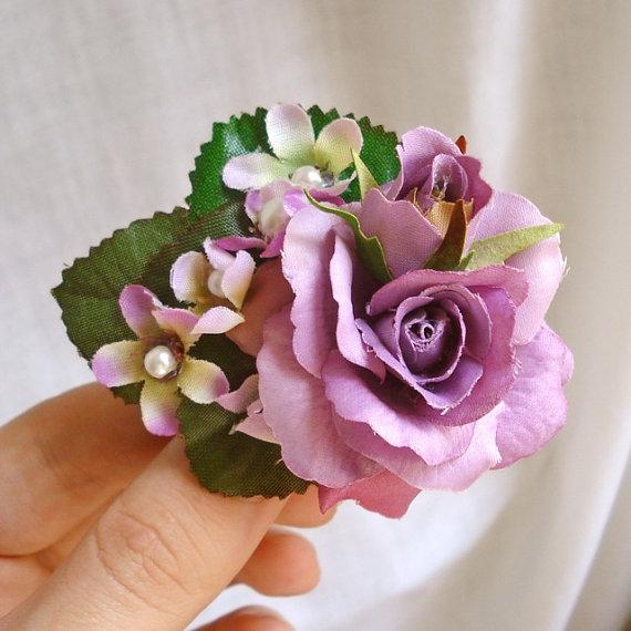 Mariage - purple rose hair clip, light purple flower hair accessory, lilac bridal hair clip - FLORA - small flower girl hair accessory for wedding