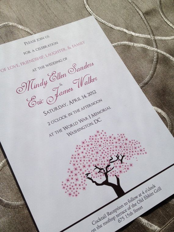 cherry blossoms wedding - cherry blossom tree wedding invitation, Wedding invitations