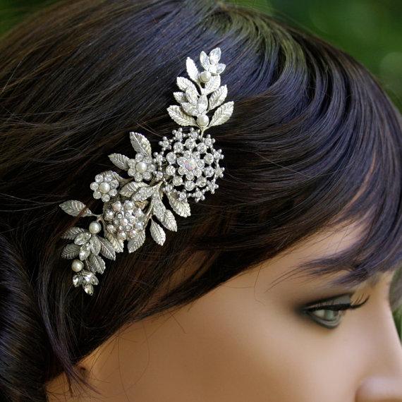 Hochzeit - Bridal Hair Comb Leaves Headpiece Vintage Wedding Comb Rhinestone Wedding Hair Accessories Leaves Headpiece IVY
