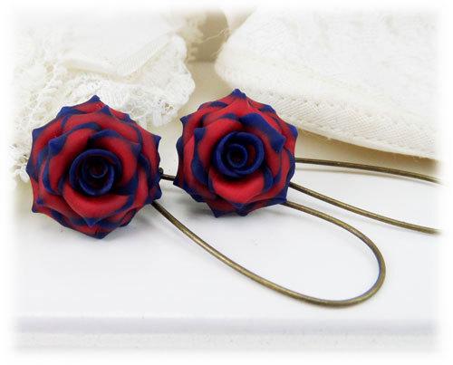 Navy Blue Red Rose Dangle Earrings - Navy Red Flower Earrings, Blue ...