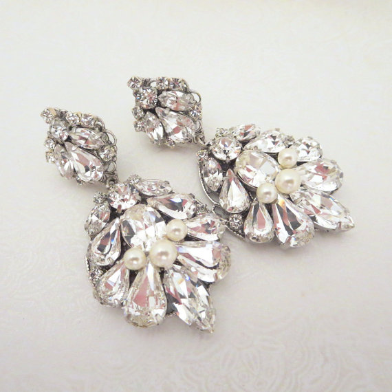 Teardrop Wedding Earrings Crystal Bridal Jewelry Chandelier Swarovski Vintage