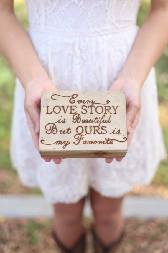 Hochzeit - Personalized Rustic Ring Bearer Box Every Love Story Is Beautiful Engraved Wood QUICK shipping available