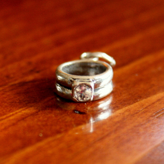 Wedding - Wedding Ring Charm Pendant with CZ - Anniversary, Bridal Shower, Engagement Jewelry