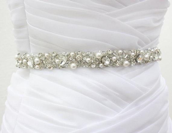 "زفاف - Ready To Ship - MONACO II - 3/4"" White Swarovski Pearls And Rhinestones Encrusted Bridal Sash, Wedding Beaded Belt, Crystal Belts"