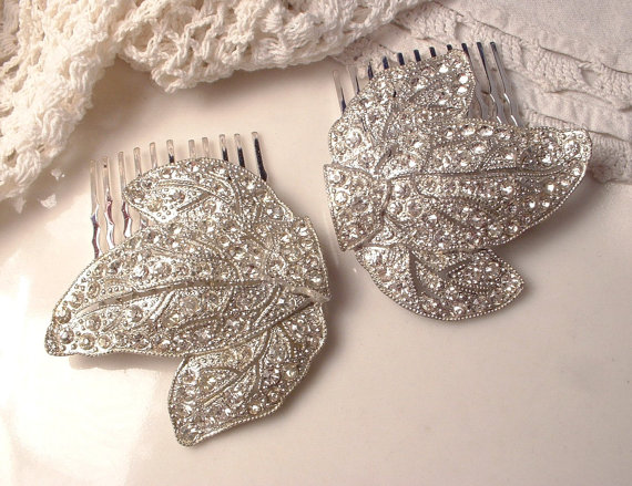 Свадьба - PAIR Original Art Deco 1920s Pave Rhinestone Leaf Wedding Hair Combs, 20s Silver Paste Clear Crystal Bridal Dress Clip to Headpiece Set of 2