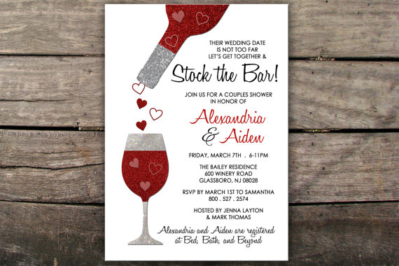 Wedding - Stock the Bar Invitation Couples Shower Invitation Engagement Party Invitation Stock the Bar Printable Wine Tasting Invitation