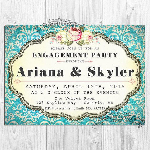 Wedding - Engagement Party Invitations printable diy Digital File - Turquoise Blue Damask - Shabby Chic - No392