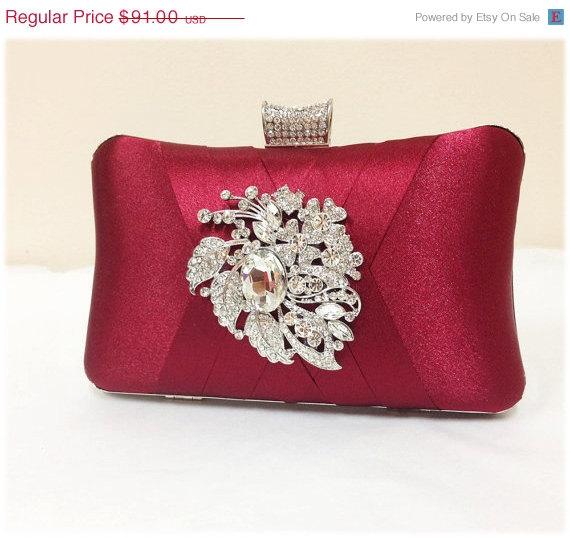Свадьба - wedding clutch, formal clutch, Red maroon clutch, evening bag, bridesmaid clutch, bridesmaid bag, crystal clutch