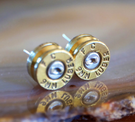 Свадьба - 9mm bullet earring studs police glock jewelry cop wife ear ring stud camo wedding earrings harley davidson camo ring