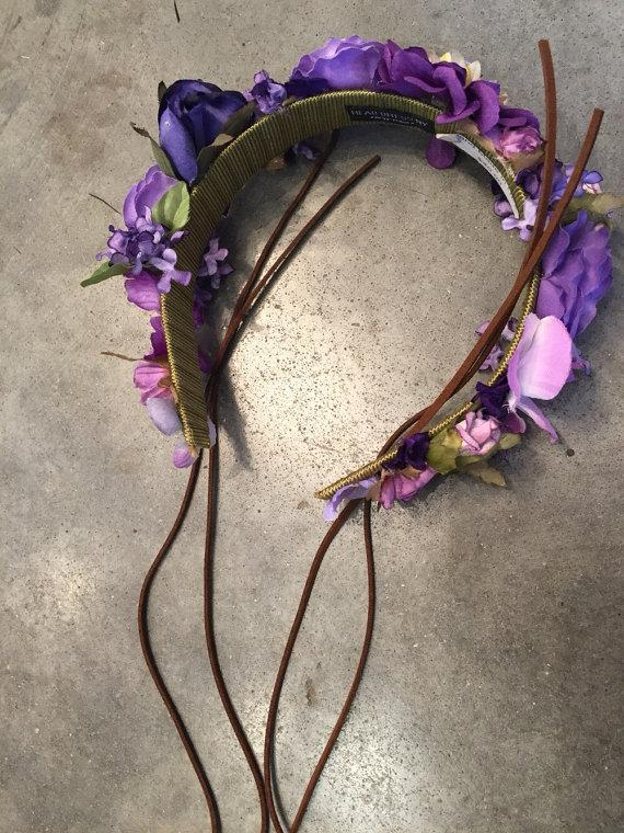 Свадьба - Festival crown- purple flower crown -special order fir Gina-halo- Coachelle- Rave- Beach- Hippie headband rose headband
