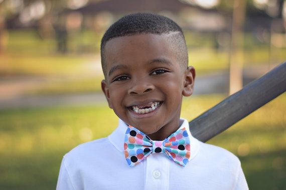Wedding - Bowtie Multi Color Polka Dot Accessory Clip On - Wedding - Ring Bearer - Photo Prop - Newborn Baby Toddler Girl Boy Cake Smash Bow Tie