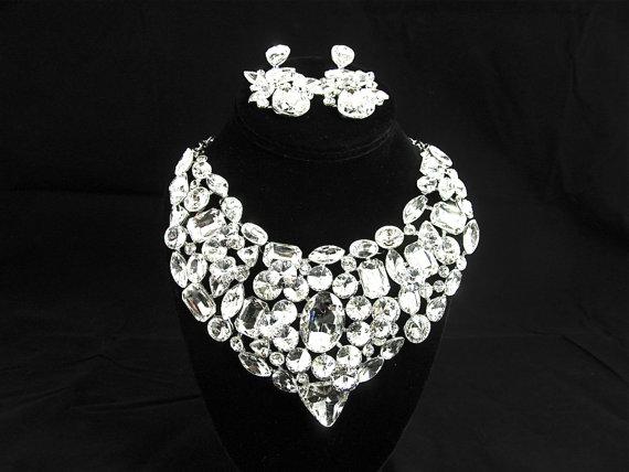 Свадьба - Crystal Bib Style Bridal Statement Necklace, Crystal Rhinestone Wedding Necklace, Crystal Statement Evening Necklace   ~ E 74