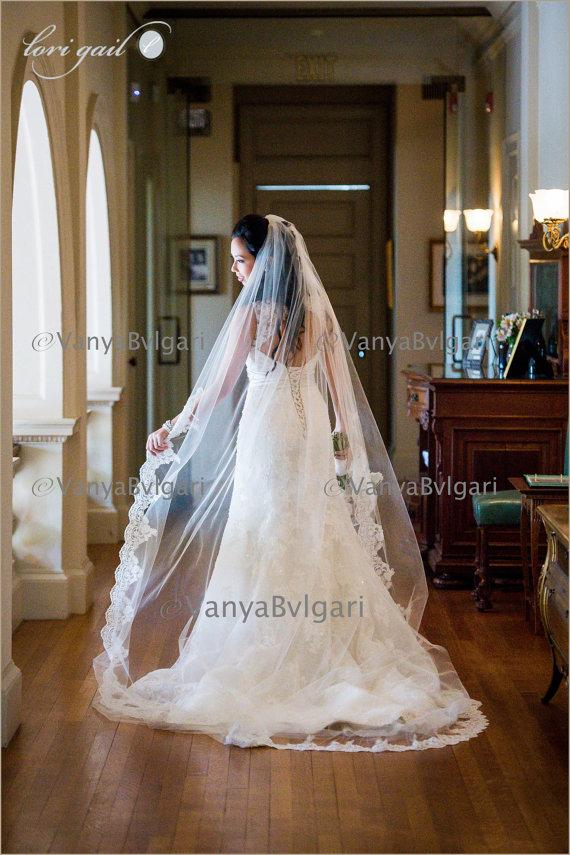 Свадьба - Cathedral wedding veil with beaded re-embroidered  lace on the edge starting at elbow level with gathered top on a hair comb, classic veil
