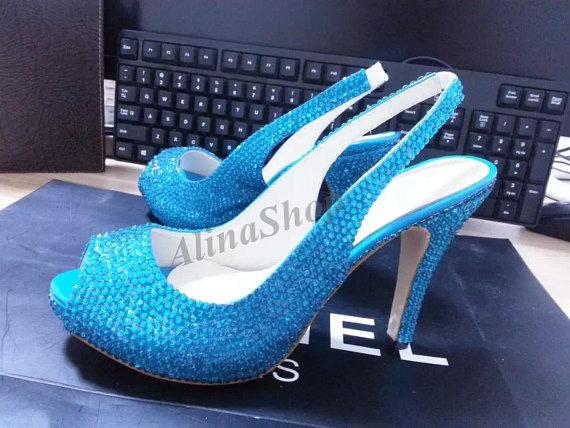 Mariage - Teal Crystal Slingback Peep Toe Heels Turquoise Bridal Shoes Sling back open toe wedding shoes wedding sandals Crystal shoes Custom heels