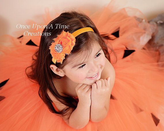 Wedding - Bright Orange Shabby Chic Flower Rose Headband - Photo Prop - Newborn Baby Little Girls Hair Bow - Perfect for Halloween