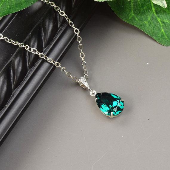 Mariage - Emerald Green Necklace - Swarovski Crystal Teardrop Pendant Necklace - Emerald Green Bridesmaid Necklace - Wedding Jewelry - Bridal Jewelry