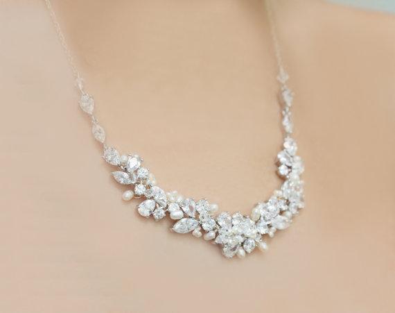 Mariage - Bridal Silver Rhinestone, Freshwater Pearl, and Swarovski Crystal Wedding Necklace