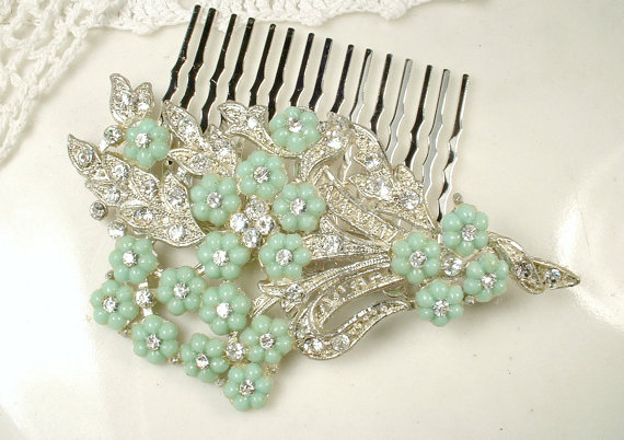 Свадьба - 1920s Art Deco Mint Green Rhinestone Bridal Hair Comb or Sash Brooch, Antique 1930 Floral Spray Pin, Pave Crystal Hairpiece Vintage Wedding