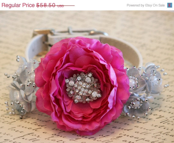 Свадьба - Sangria and Silver wedding dog collar, Floral Dog Collar, 2015 wedding color, Floral Dog collar, Spring wedding, Pet accessory