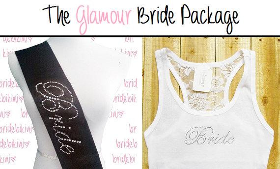 Mariage - Half Lace Bride Tank Top & Bride Sash Package. Bridal Sash. Lace Bridal Tank Top. Bachelorette Sash. Bachelorette Party. Bride Gift.