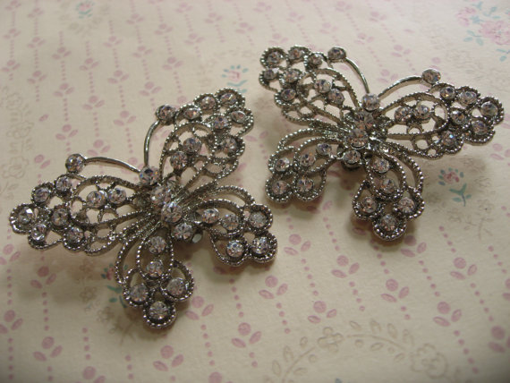 Mariage - Butterfly love wedding Swarovski rhinestone crystal bridal bridesmaids shoes clips