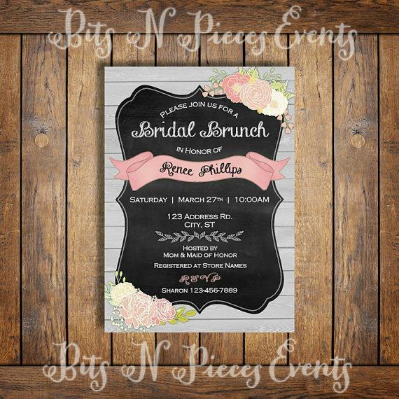 Wedding - Bridal Brunch Invitation. Couples Bridal Shower Invite. Barn Chalkboard Bridal Shower. Pink Coral Flower Bridal Shower.